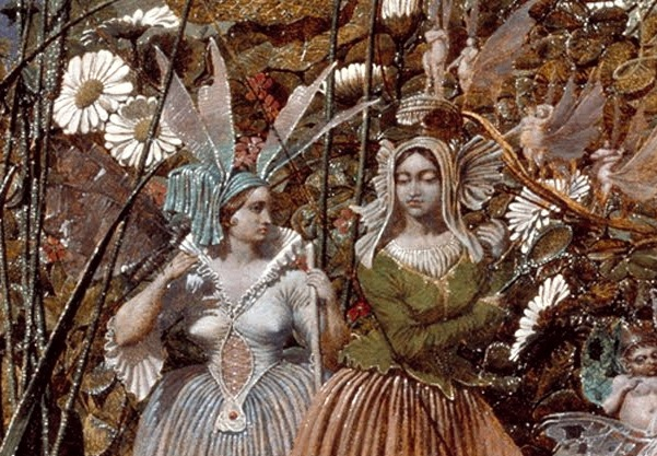 Detail from The Fairy Feller's Masterstroke. Spot the tiny figures behind the two women.