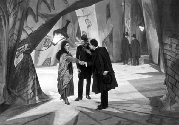 A still from the film, note the distorted set.