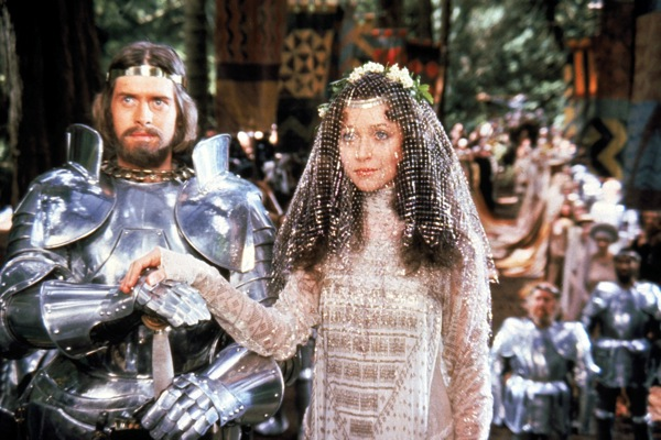 John Boorman's Excalibur (1981). Arthur and Guinevere looking all innocent, the harlot.