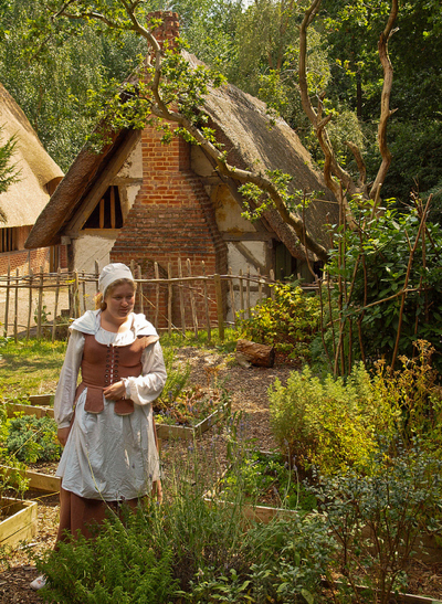 A cottage garden in Little Woodham Living History Village