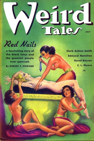 Classic Margaret Brundage cover from 1936, for Robert E. Howard's famous Conan tale - Red Nails.