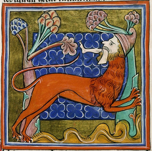Manticore from a 13th Century Bestiary. Check out that cool hat.