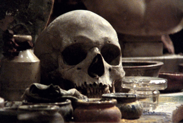 Almost every shot evokes the Flemish school, in this case a memento mori still life.