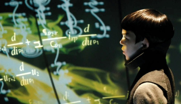 A young Spock at school on Vulcan. Education as mechanistic data stuffing.