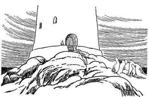 A metaphor and then some. Moominpappa's mid-life crisis and his enormous lighthouse in Moominpappa at Sea