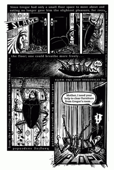 Peter Kuper's comic book adaptation of Metamorphosis