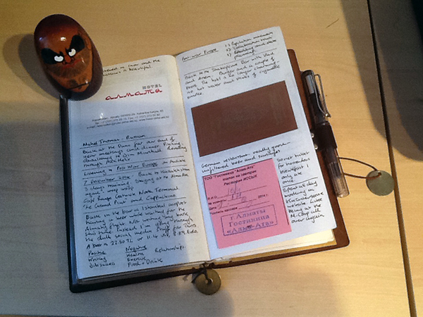 Daily journal with cards held in place by nifty pocket seals.