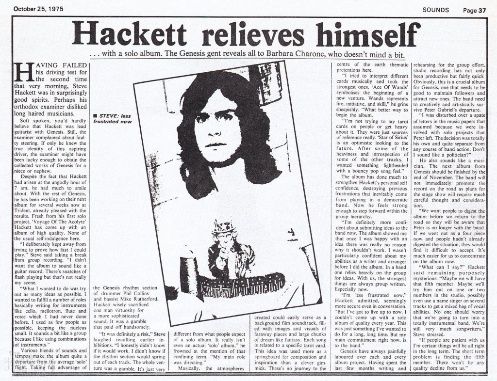 Interview with Steve Hackett from Sounds, October 25, 1975